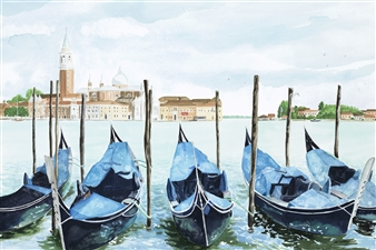 Johanna Wray - Venice Gondolas Watercolor on Paper, Paintings