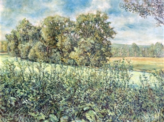 James Chisholm - Trees in Cornfield, Topsfield Oil on Linen, Paintings