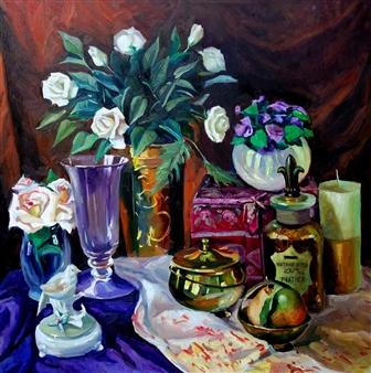 Nadia Jampolski - Vintage Style Oil on Canvas, Paintings