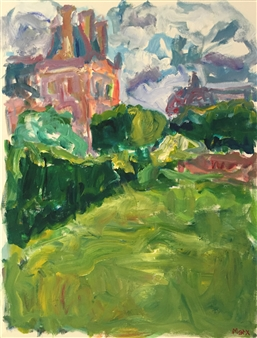 Susan Marx - Musee du Louvre and Musee d'Orsay from the Tuileries Acrylic on Canvas, Paintings
