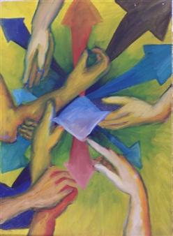 Marianne Fernandez - Hands Oil on Canvas, Paintings