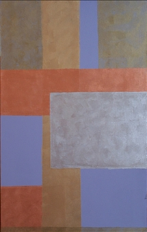 Marianne Fernandez - Blue Squares Acrylic on Canvas, Paintings