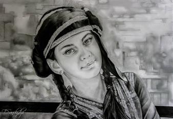 Tiko Sanikidze - Mariam (The girl performing an Adzhar dance) Pencil on Paper, Drawings