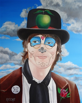 Sandra Nitchie - La Catrina, John Lennon Acrylic & Oil on Canvas, Paintings