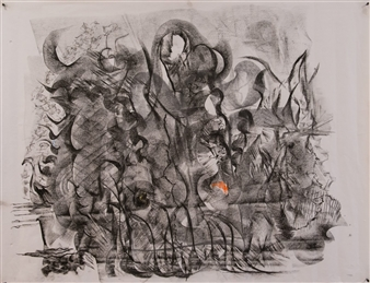 Pep Mazzini - Worlds Charcoal on Paper, Drawings