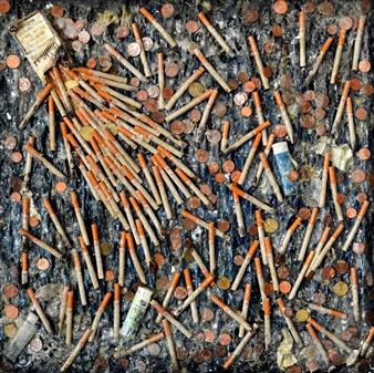 Stivi - Waste of Money / Cigarettes Acrylic & Mixed Media on Canvas, Mixed Media