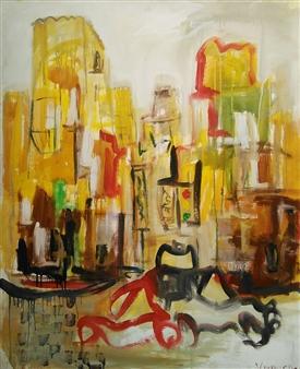 Ricardo Vivanco - Urban Life Mixed Media on Canvas, Mixed Media
