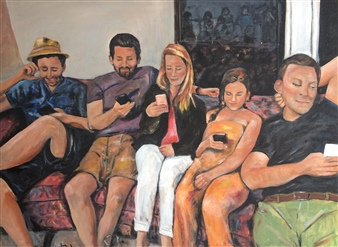 Marlene Kurland - Family Reunion Oil on Canvas, Paintings