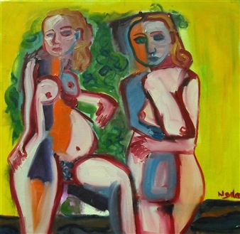 Stephen Najda - Les Baigneurs (The Bathers) Oil on Canvas, Paintings
