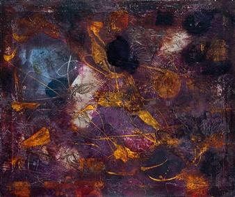 Irma Lescinskaite - Tattooed Abstract (Silver Rose) Oil on Canvas, Paintings