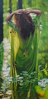 Mikele Arapi - A Girl on Green Silk Scarf Oil on Canvas, Paintings