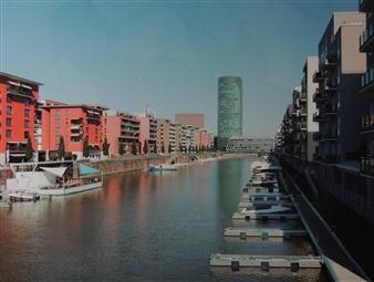 Claudia Breidenbach - Westharbour of Frankfurt Acrylic & Photograph on Canvas, Mixed Media