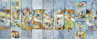 Kerstin Lundin - All Coming Together Oil & Mixed Media on Canvas, Mixed Media