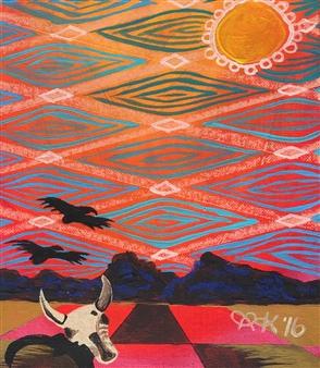 Olivia Kapoor - Desert Heat Acrylic & Oil Pastel on Canvas, Paintings
