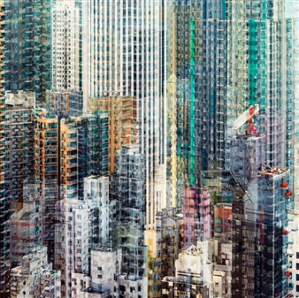 Florian Mueller - Multivision Hong Kong #1 Photograph on Plexiglass, Prints