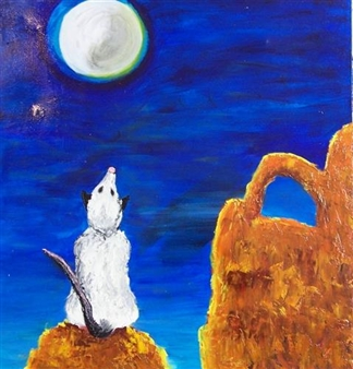 Marianne Fernandez - Howling Opossum Oil on Canvas, Paintings