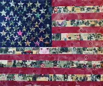 Maria Fernandez Gold - Old Glory Acrylic & Mixed Media on Canvas, Mixed Media