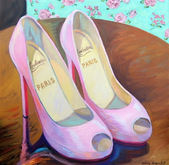 Nomi Knecht - PinK Goody Two Shoes II Oil on Canvas, Paintings