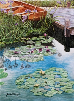 Josie Mengai - Water Lilies and Boat Digital Print on Aluminum, Prints