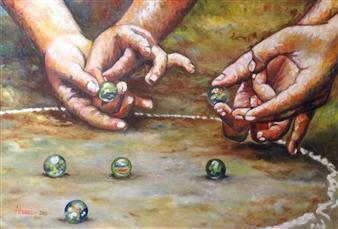Cesar Alvarez - Canicas Oil on Canvas, Paintings