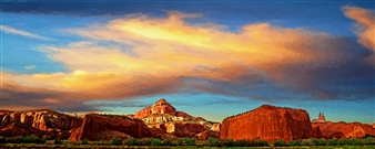 Bill Young - Redrock Sunset Digital Art and Acrylic on Canvas, Digital Art