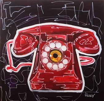 Viccas - Phone w Camera Acrylic on Canvas, Paintings
