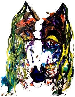 Alejandra Burguette - Lightful Monster Acrylic & Gouache on Paper, Paintings