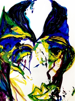 Alejandra Burguette - Kiss Me in the Eyes Acrylic & Gouache on Paper, Paintings