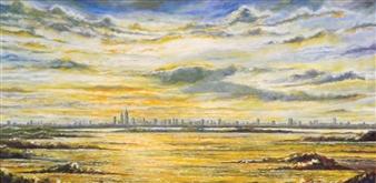 Cesar Alvarez - City Without Me Oil on Canvas, Paintings