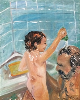 Marlene Kurland - Bath Time Fun with Dad Oil on Canvas, Paintings