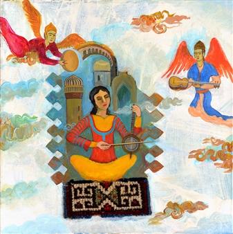 Yegana Azadova - Muqam Acrylic & Mixed Media on Canvas, Mixed Media