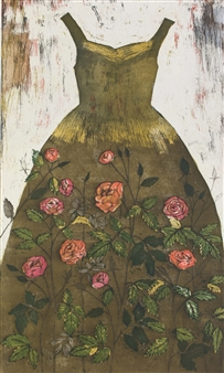 Kirsi Neuvonen - Ruusupuku (Rose Dress) Etching on Paper, Prints