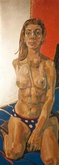 Christian Barbosa - Sentada Sobre Almohadon Oil & Spray Paint on Canvas, Paintings