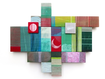 Yoshiko Kanai - If Acrylic & Thread on Wood, Mixed Media