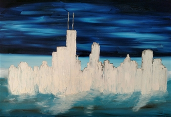 Ron Turner - Silver Chicago Oil on Canvas, Paintings