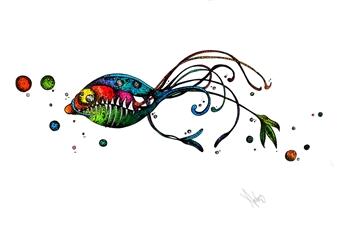 Mariana Lino - Piranha Marker on Canvas, Drawings
