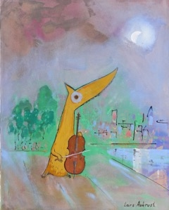 Lars Aukrust - The Cello Concert in Central Park Acrylic on Canvas, Paintings