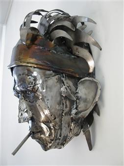 Lida Boonstra - Rock'n Roll Hero, side view Unicum in Steel, Sculpture