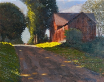Robert Lenz - Kent Hollow Road Oil on Canvas Board, Paintings