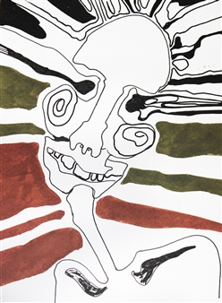Manoushak Azad - Skull Marker on Paper, Paintings