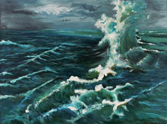 Corinne Garese - Wave Oil on Canvas, Paintings