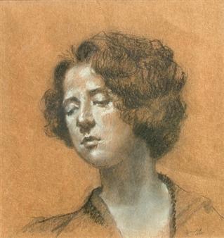 Pauli Zmolek - Portrait of Woman Charcoal on Paper, Drawings