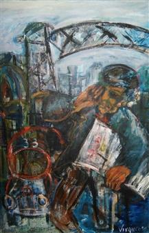 Ricardo Vivanco - River Morning News Mixed Media on Canvas, Mixed Media