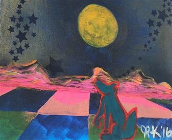 Olivia Kapoor - Desert Dust-storm Acrylic & Oil Pastel on Canvas, Paintings