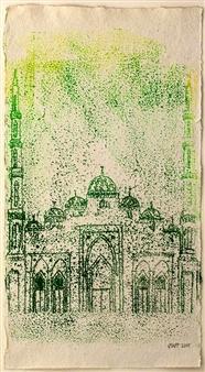 Jessica Watson-Thorp - Al Salaam Mosque, Dubai, Lime & Forest Green 1 Monoprint, Prints