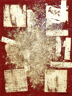 "Bulsby ""Buzz"" Duncan - Autum Gold Acrylic & Gold Leaf on Canvas, Mixed Media"