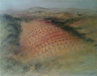 Jana Kamila Masik - Le Champ Rose Acrylic on Canvas, Paintings