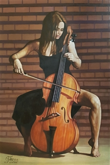 Mikele Arapi - Playing Cello Oil on Canvas, Paintings