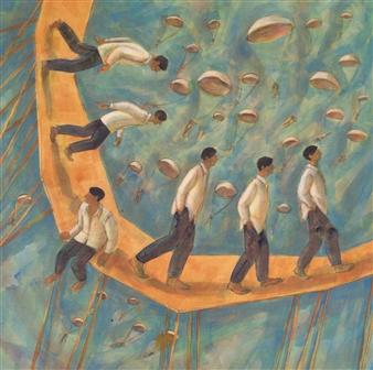 Luz Letts - El Arribo (The Arribal) Acrylic on Canvas, Paintings