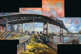 James Chisholm - Tobin Bridge Chelsea Oil on Linen, Paintings